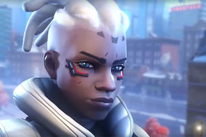 Overwatch. Black animated woman character with white dreds pulled back into ponytail with shaven sides.