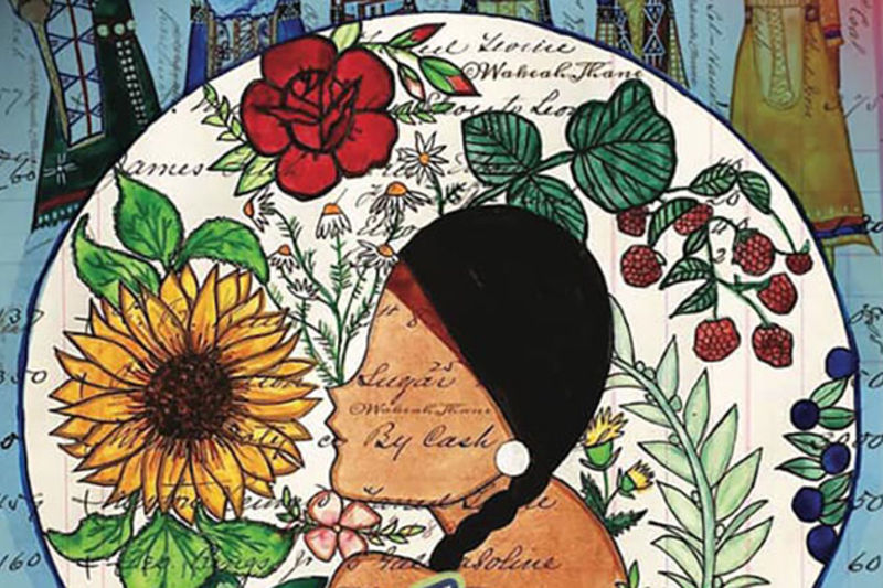 Think Indigenous. A faceless figure with long dark braids wearing a red headband, white earrings, in front of a floral display.