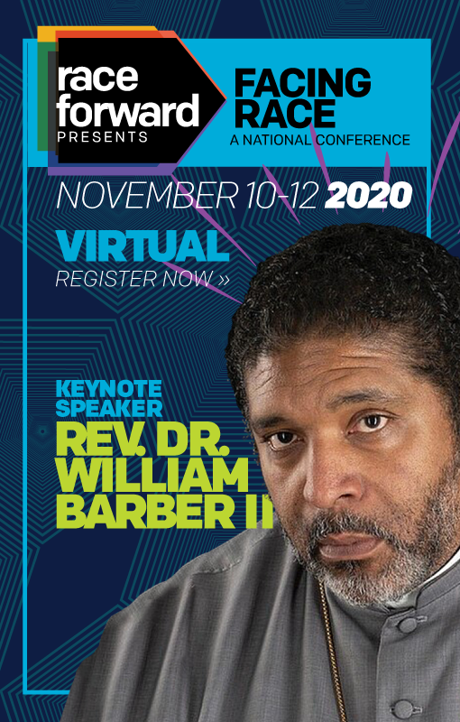 Keynote Speaker Rev. Dr. William Barber II face emanates neon purple rays against a background of dark blue with dark teal concentric pentagonal shapes that subtly meet one another to create a cohesive pattern as they radiate out in to space. Race Forward Presents Facing Race: A National Conference.
